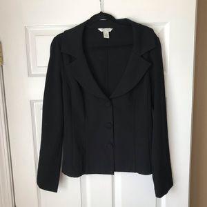 WHBM black button blazer jacket w belt loops